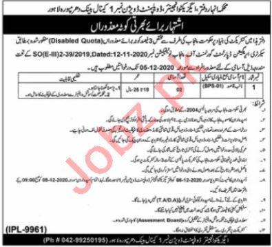 Irrigation Department Canal Bank Mughalpura Lahore Jobs 2020