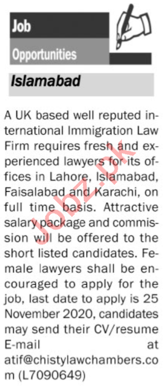 Chisty Law Chambers Islamabad Jobs 2020 for Lawyers
