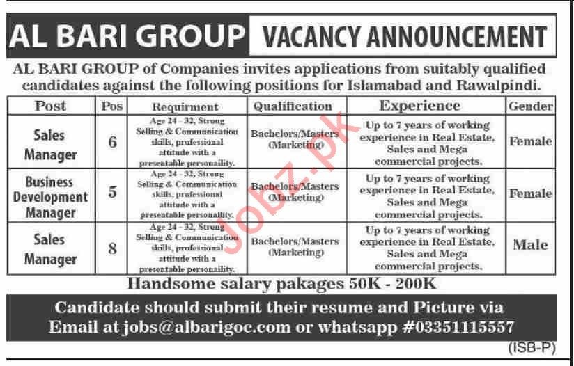 Sales Manager & Business Development Manager Jobs 2020