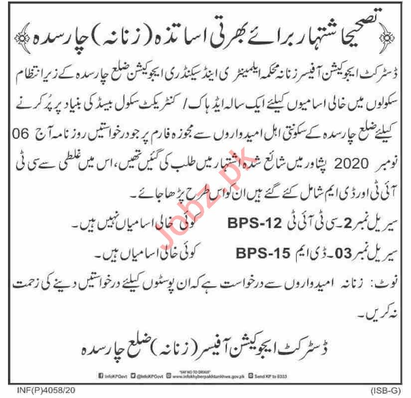 District Education Office DEO Female Charsadda Jobs 2020