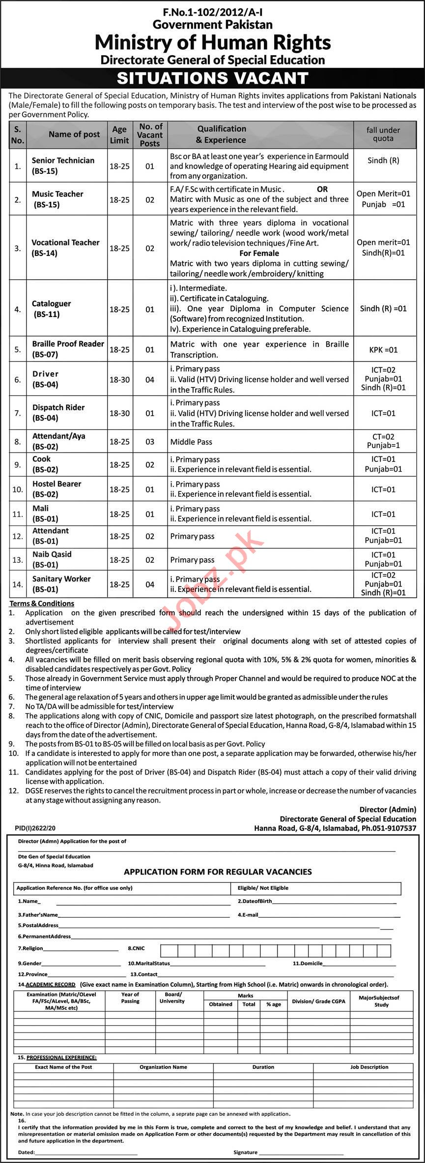 National Institute of Special Education NISE Islamabad Jobs