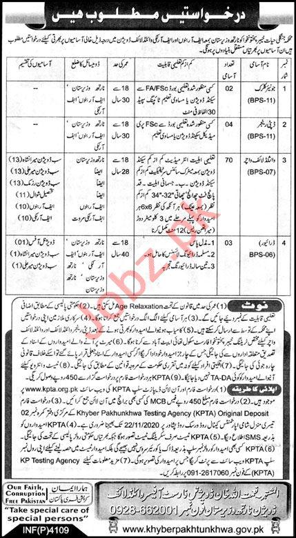 Wildlife Division North Waziristan Jobs for Wildlife Watcher