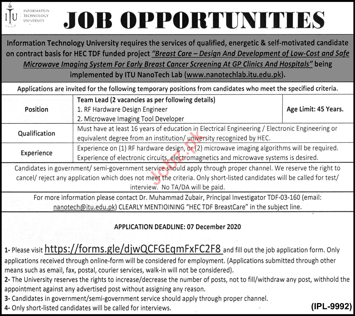 ITU University Lahore Jobs 2020 for Research Associate