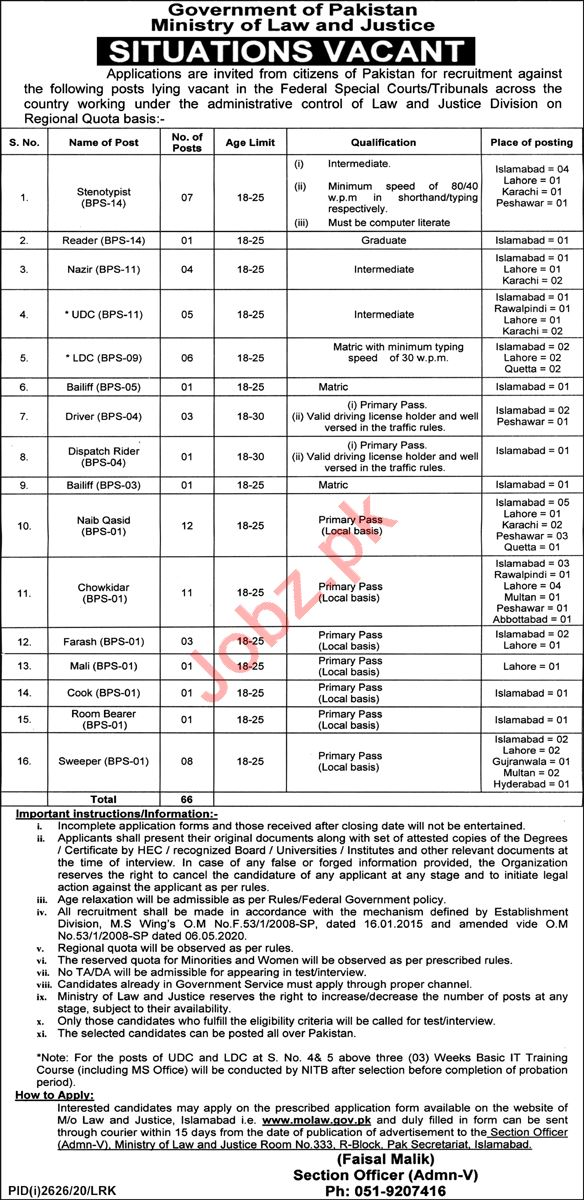 Federal Special Courts & Tribunals Islamabad Jobs 2020