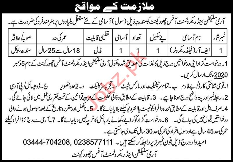 Army Selection & Recruitment Centre Chhor Cantt Jobs 2020