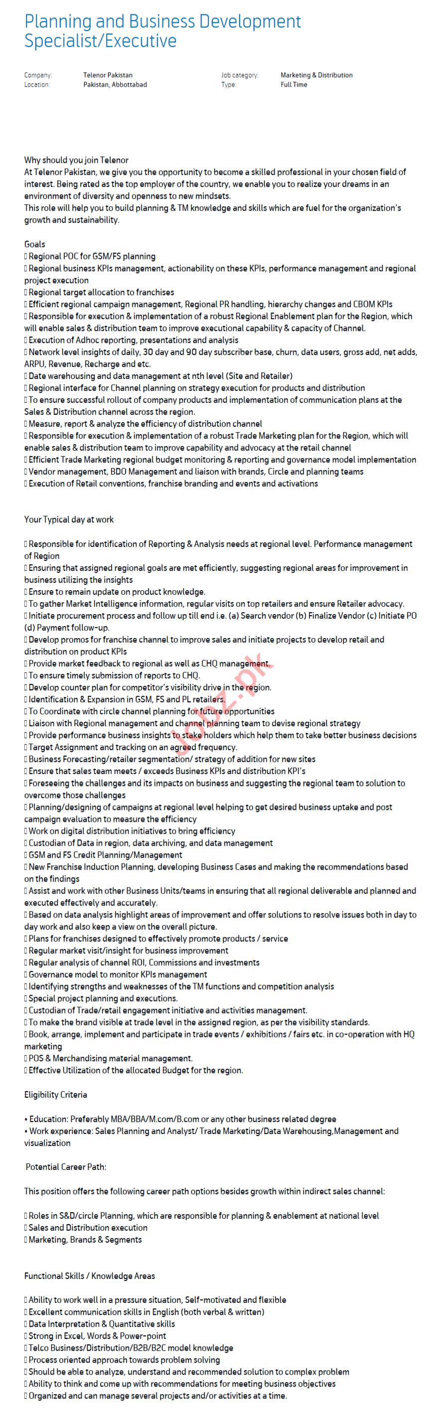 Planning & Business Development Executive Jobs 2020