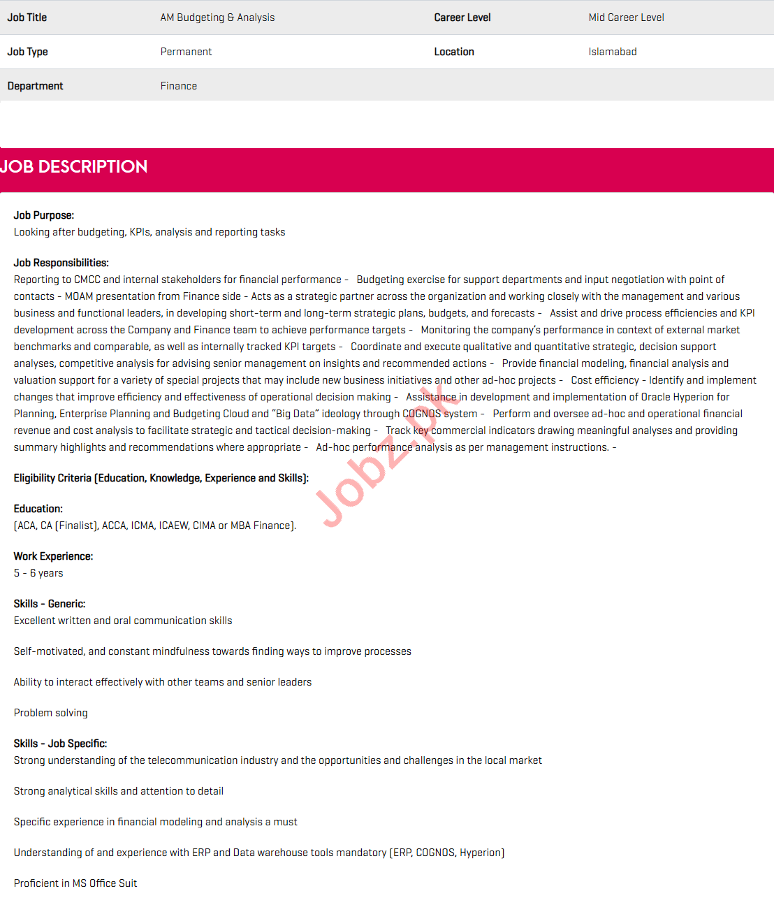Zong Pakistan Jobs 2020 for AM Budgeting & Analysis