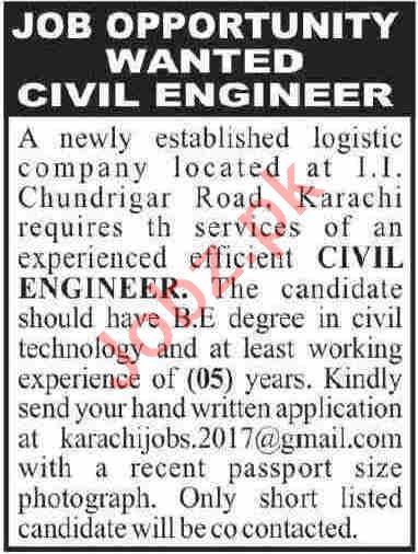 Civil Engineer & Engineer Jobs 2020 in Karachi