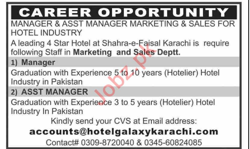 Manager & Marketing Manager Jobs in Hotel Galaxy Karachi