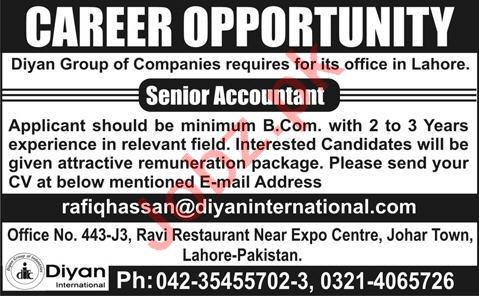 Senior Accountant Jobs 2020 in Diyan International Lahore