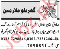 House Staff Jobs Open in Lahore 2020