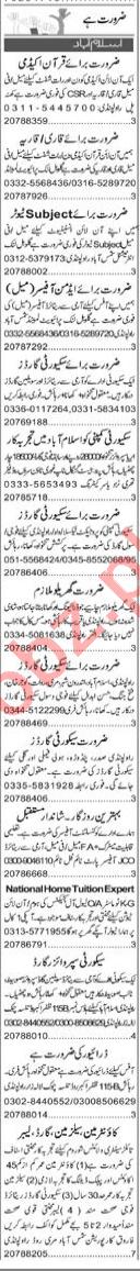 Quran Teacher & Finance Manager Jobs 2020 in Islamabad