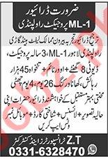 ZT Transporter & Contractor Rawalpindi Jobs 2020