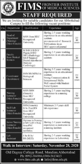 Frontier Institute of Medical Sciences FIMS Jobs 2020