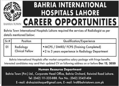 Bahria International Hospital Job 2020 in Lahore