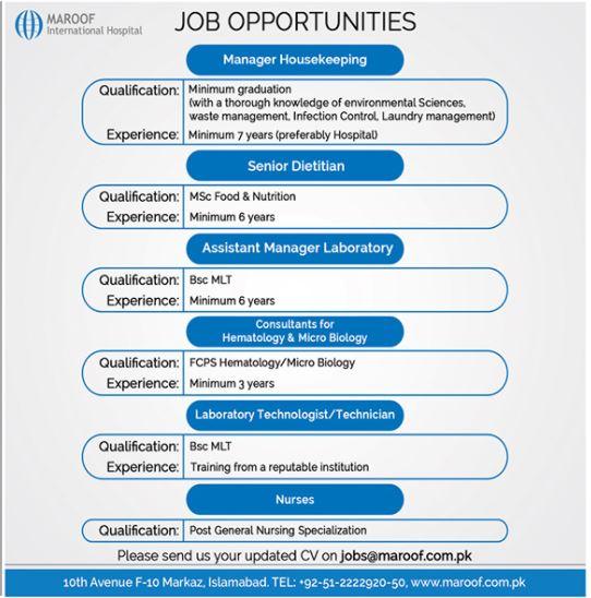 Maroof International Hospital Jobs 2020 in Islamabad