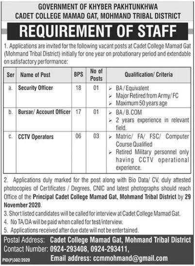 Pakistan Army Cadet College Jobs 2020 in Mohmand KPK