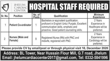 Jhelum Cardiac Center Jobs 2020 For Medical Staff