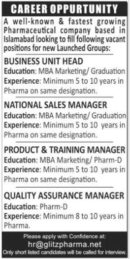 Glitz Pharma Jobs 2020 For Management Staff In Islamabad