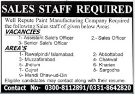 Paint Manufacturing Company Jobs 2020 For Sales Staff