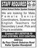 Allied School Kallar Syedan Campus Jobs 2020