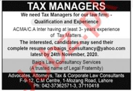 Tax Manager Jobs 2020 in Lahore