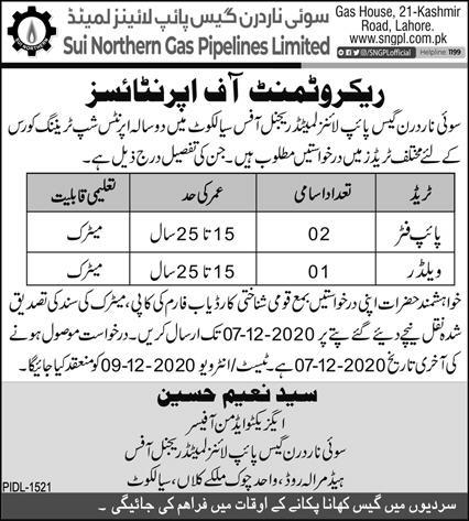 Sui Northern Gas Pipe Line Limited Sialkot Jobs 2020