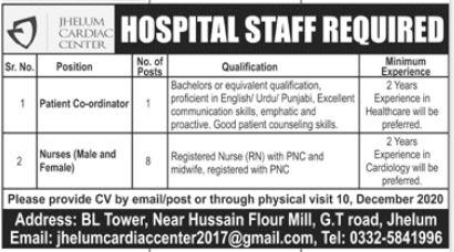 Hospital Staff Jobs 2020 in Jhelum