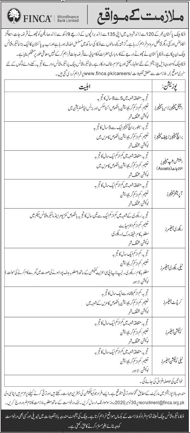 FINCA Microfinance Bank Limited Jobs 2020 in Lahore