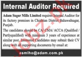 Adam Sugar Mills Jobs 2020 for Internal Auditor