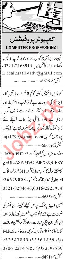 Jang Sunday Classified Ads 22 Nov 2020 for Computer Staff