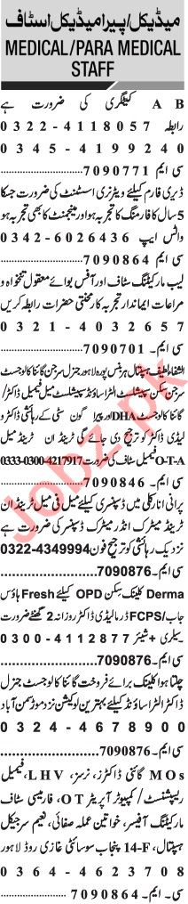 Jang Sunday Classified Ads 22 Nov 2020 for Medical Staff