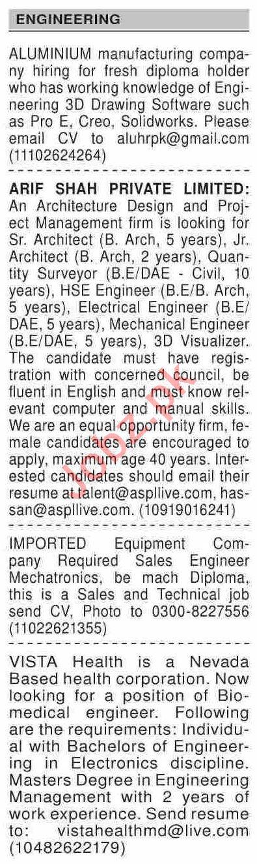 Dawn Sunday Classified Ads 22 Nov 2020 for Engineering Staff