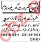 Nawaiwaqt Sunday Classified Ads 22 Nov 2020 House Staff