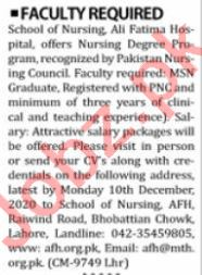 School of Nursing Ali Fatima Hospital Jobs 2020