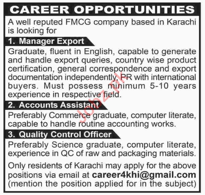 Manager Export & Accounts Assistant Jobs 2020 in Karachi
