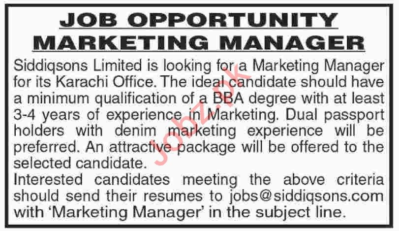 Marketing Manager Jobs 2020 in Siddiqsons Limited Karachi