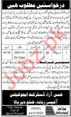 District Education Office DEO Female Lower Dir Jobs 2020