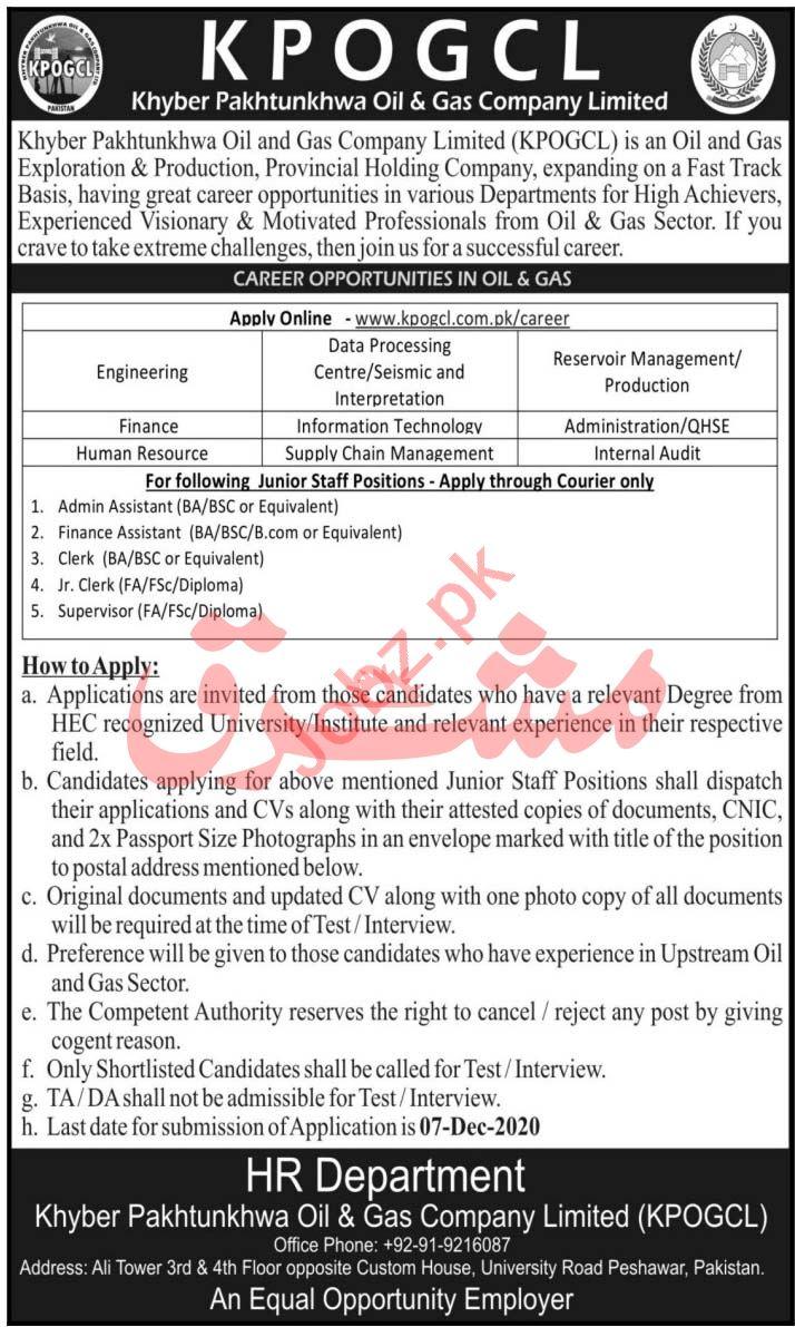 Khyber Pakhtunkhwa Oil & Gas Company KPOGCL Peshawar Jobs