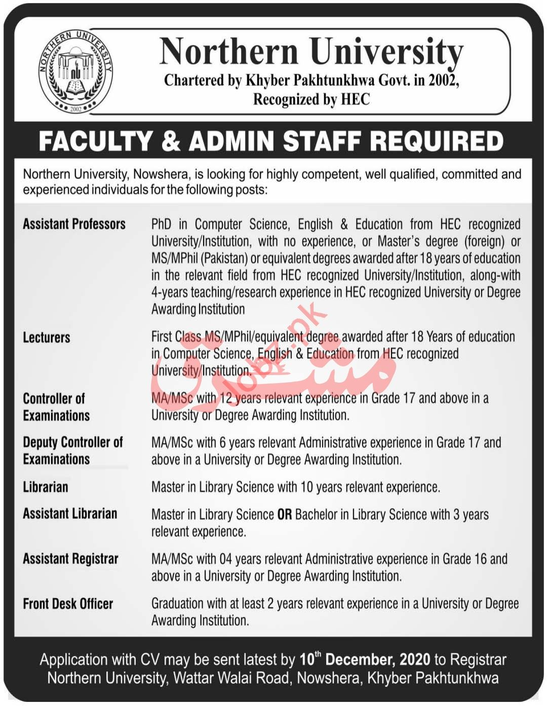 Northern University Jobs 2020 for Faculty & Admin Staff