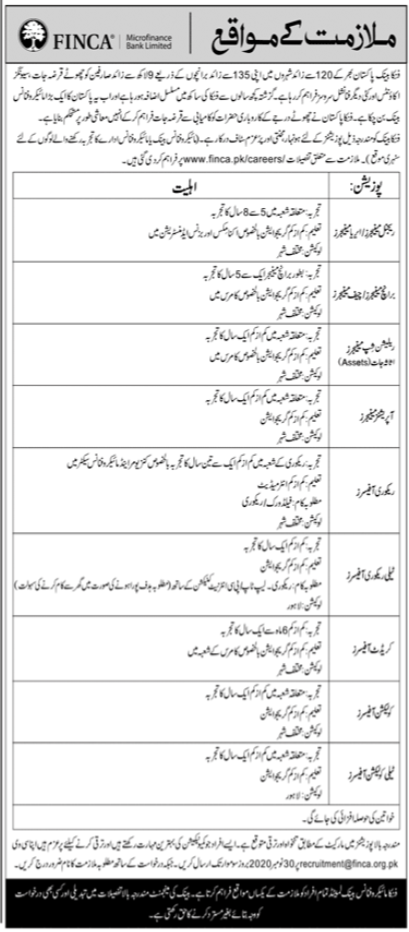 FINCA Microfinance Bank Limited Jobs 2020 For Lahore