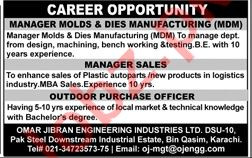 Manager Sales & Outdoor Purchase Officer Jobs 2020