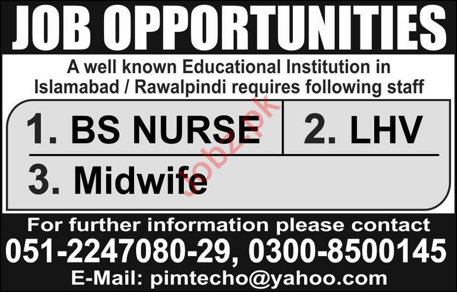 Nurse & Lady Health Visitor Jobs 2020 in Islamabad