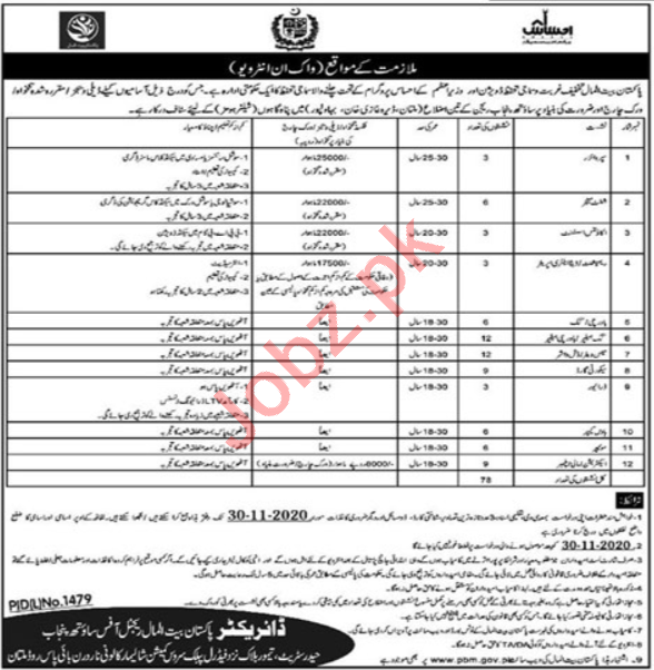 Pakistan Bait ul Mal Regional Office South Punjab Jobs 2020