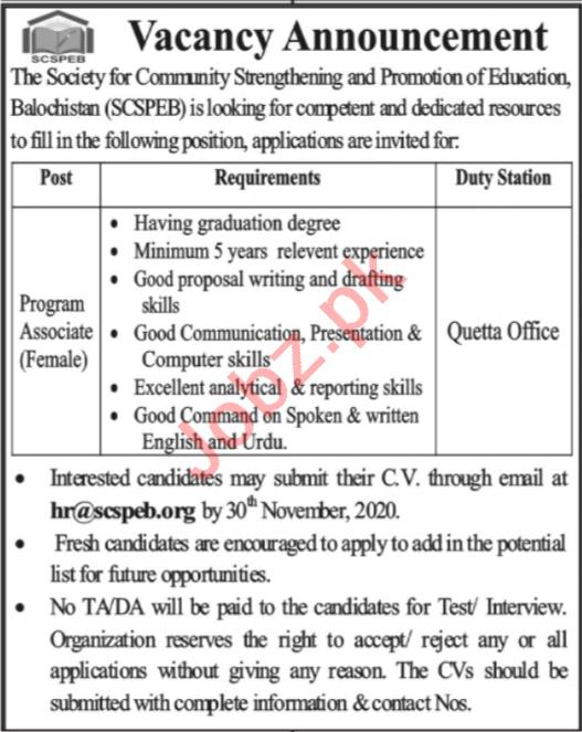 SCSPEB Quetta Jobs 2020 for Female Program Associate