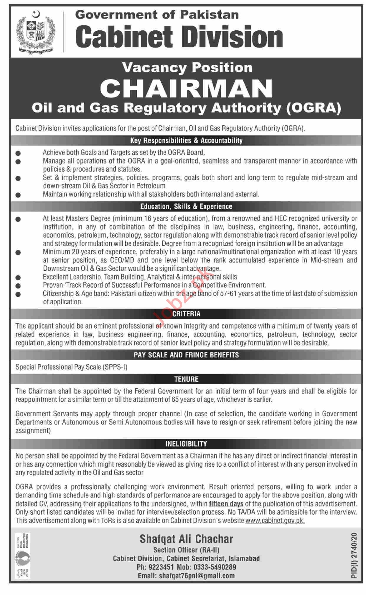 Oil & Gas Regulatory Authority OGRA Jobs 2020 for Chairman