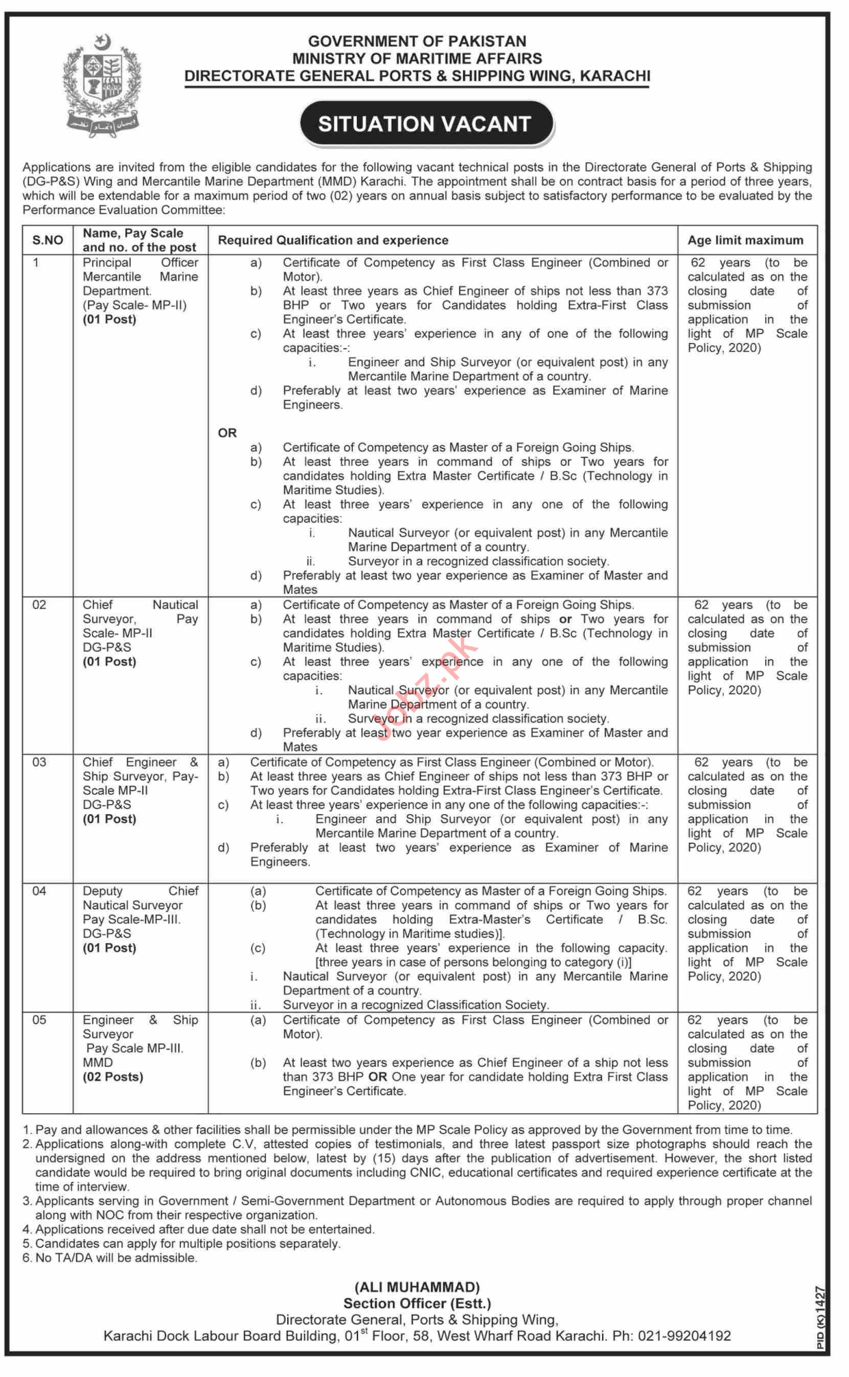 DGPS Wing Directorate General Ports & Shipping Jobs 2020