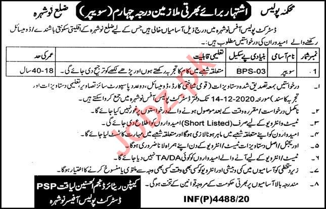 District Police Office Nowshera Jobs 2020 for Sweeper