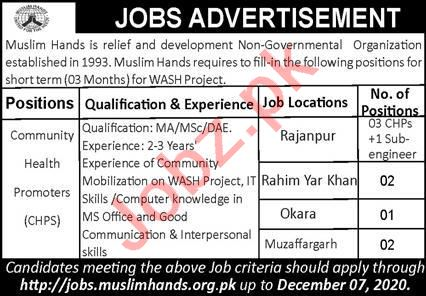 Muslim Hands WASH Project Jobs 2020 for CHPS Promoters
