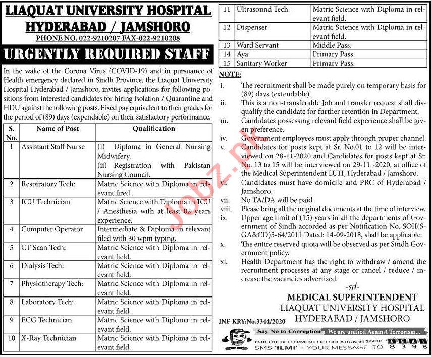 Liaquat University Hospital Hyderabad Jobs for Technicians